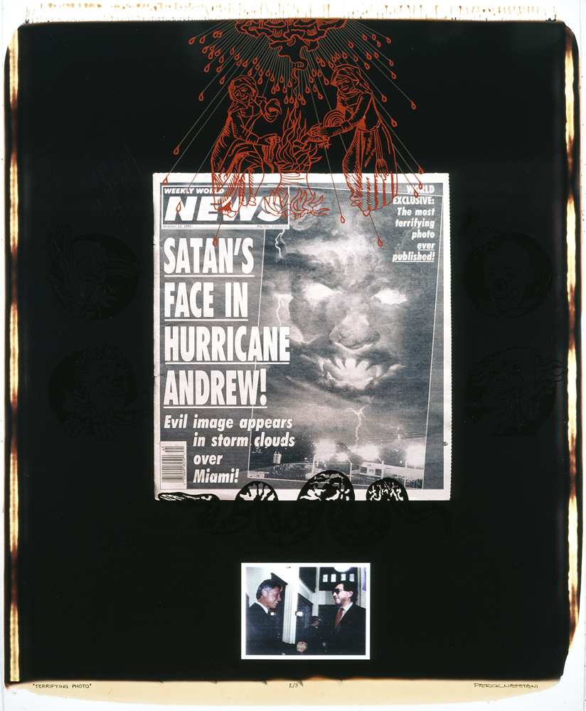 Patrick Nagatani,  Terrifying Photo  (1994), Polaroid Polacolor 20X24 print with applied mixed media.