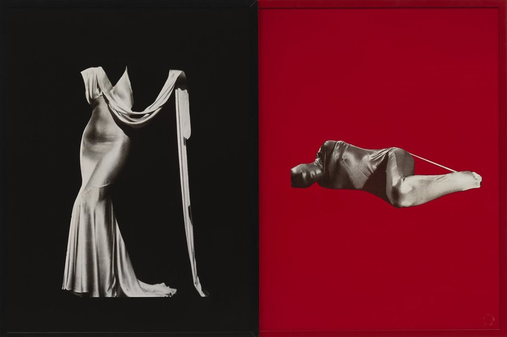 "All images by Sarah Charlesworth. Figures,1983. Cibachrome prints with lacquered wood frames, Diptych, 42"" x 62"".Edition of 3 + 3 APs, LACMA, Los Angeles, CA, MOCA, San Diego, CA. Fotomuseum, Winterthur, Switzerland"