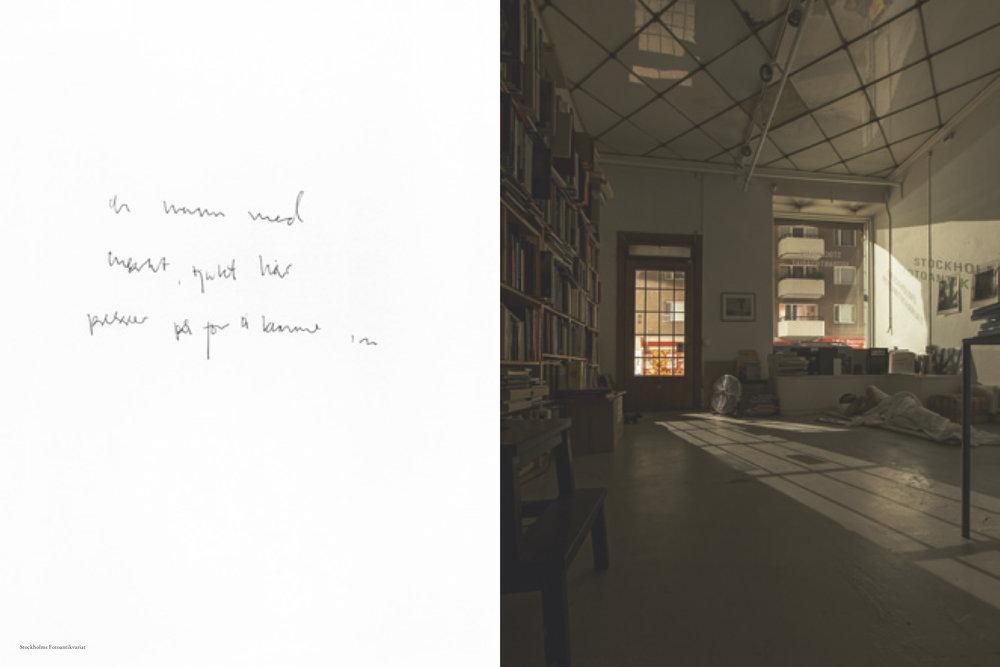 Fra  Objektiv  #8, Arne Vinnem, DRØMMER OG LANGE EKSPONERINGER  -Fem netter i fem av  Objektiv s utsalgssteder. Her Stockholms Fotoantikvariat.