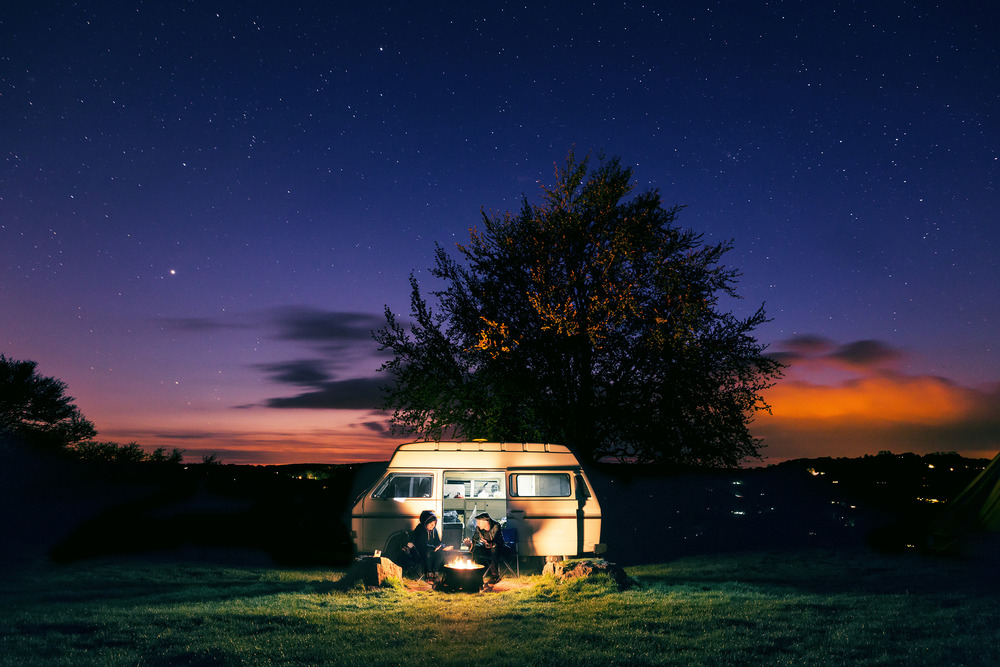 Joe Clarke, Bristol photographer, Beeches Campsite, twilight camper van, long exposure, multiple exposure, stars