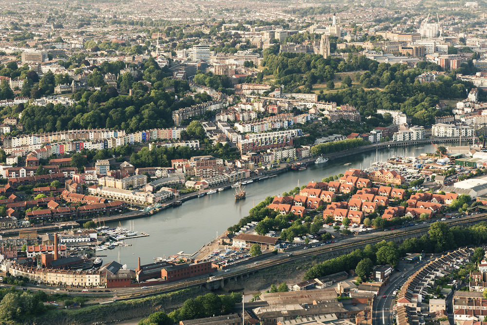 hot air balloon view of bristol
