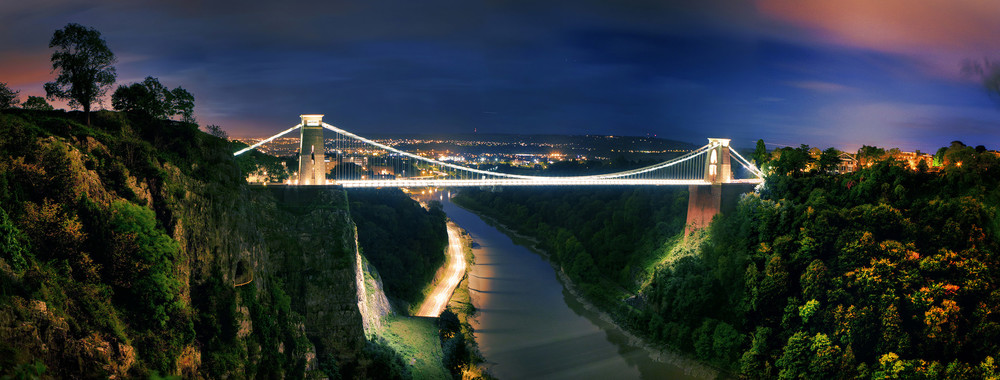 Joe Clarke, Bristol photographer, Clifton Suspension Bridge, panorama, night, long exposure, HDR