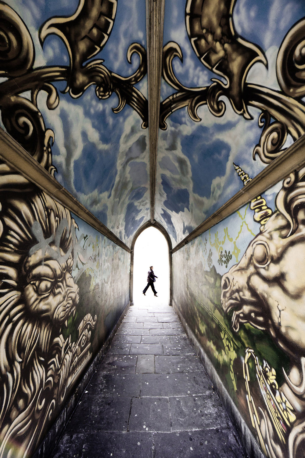 Joe Clarke, Bristol photographer, 12mm, super wide, graffiti, tunnel