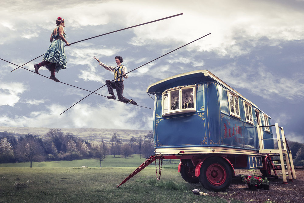 Joe Clarke, photographer, Bristol, The Bullzini Family, highwire, showmans carriage