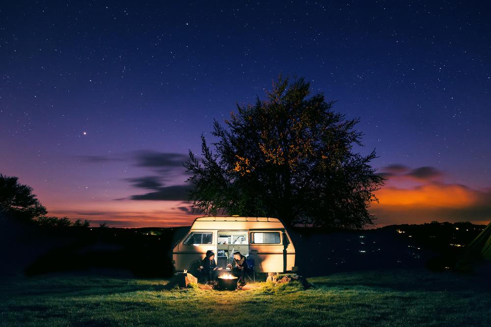 Joe Clarke, photographer, Bristol, long exposure, night, Beeches Campsite, Wales, twilight campervan