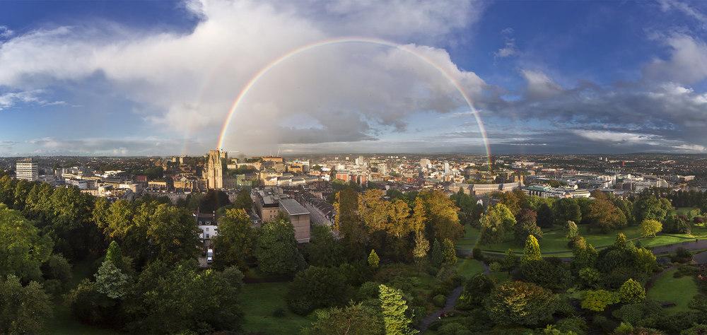 Joe Clarke, photographer, Bristol, Cabot Tower, 360 degree panorama, circular double rainbow