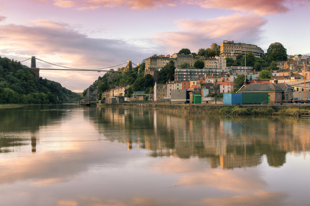 clifton suspension bridge sunset hdr