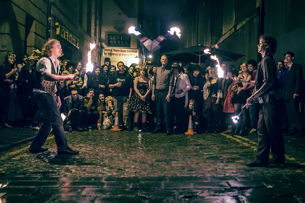 Misfits and Moonshine fire juggling