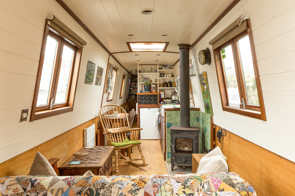 interior photography, canal boat, bristol
