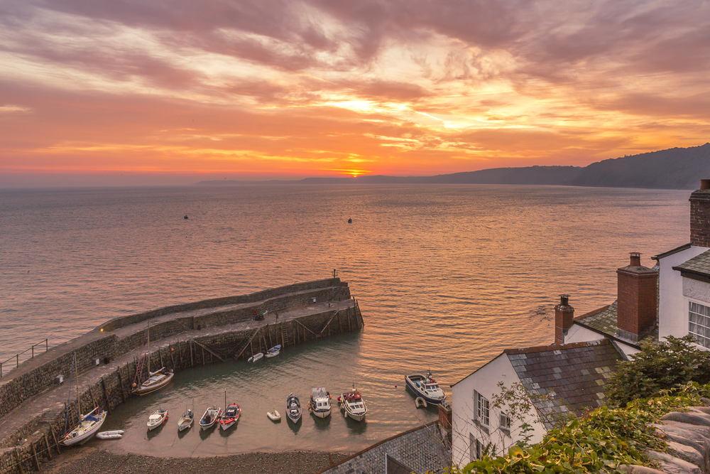 clovelly, devon, sunrise, sea