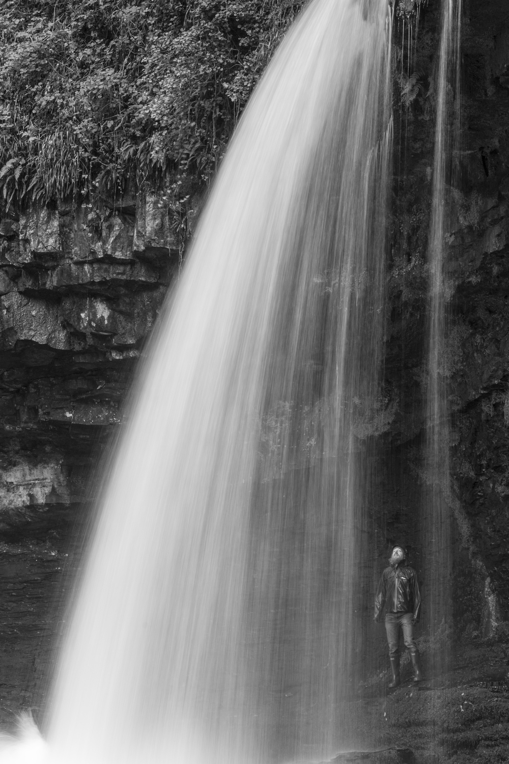 Under waterfall, Ystadfellte, Brecon Beacons, Wales.