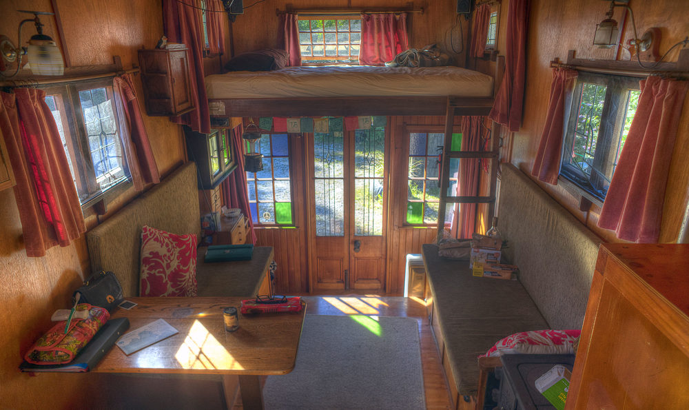the amazing house truck, Wainui Bay, New Zealand, hdr, interior
