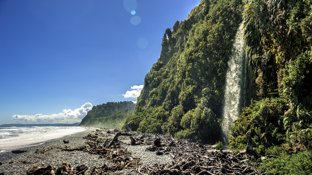 beach waterfall, new zealand, south island, hdr, joe clarke, photographer