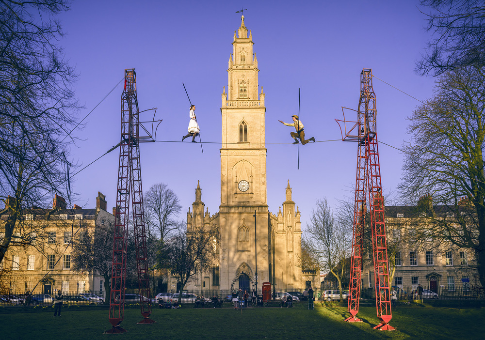 joe clarke, photographer, bristol, the bullzini family, high wire, portland square, sony a7r, canon fd 24mm