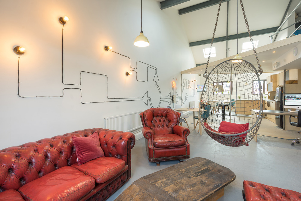 redbrick house, chesterfield, hanging egg chair, designer loft, bristol