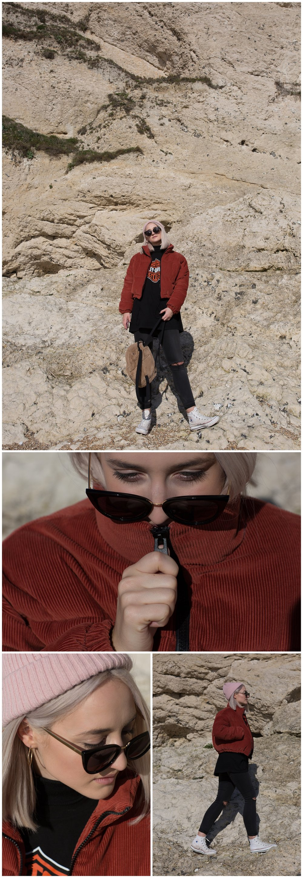 Red Corduroy Puffer Jacket - Dorset - Durdle Door - Fashion Blogger - Jess Withey - Blog