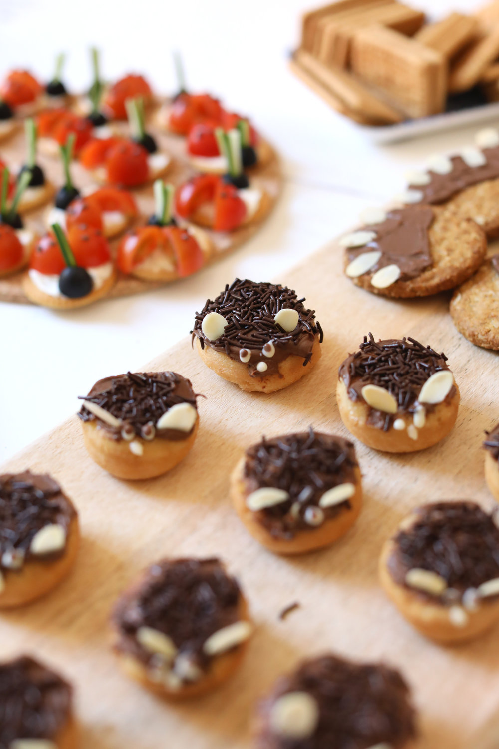 Hedgehogs made with mini doughnuts, chocolate spread, sprinkles and almonds.