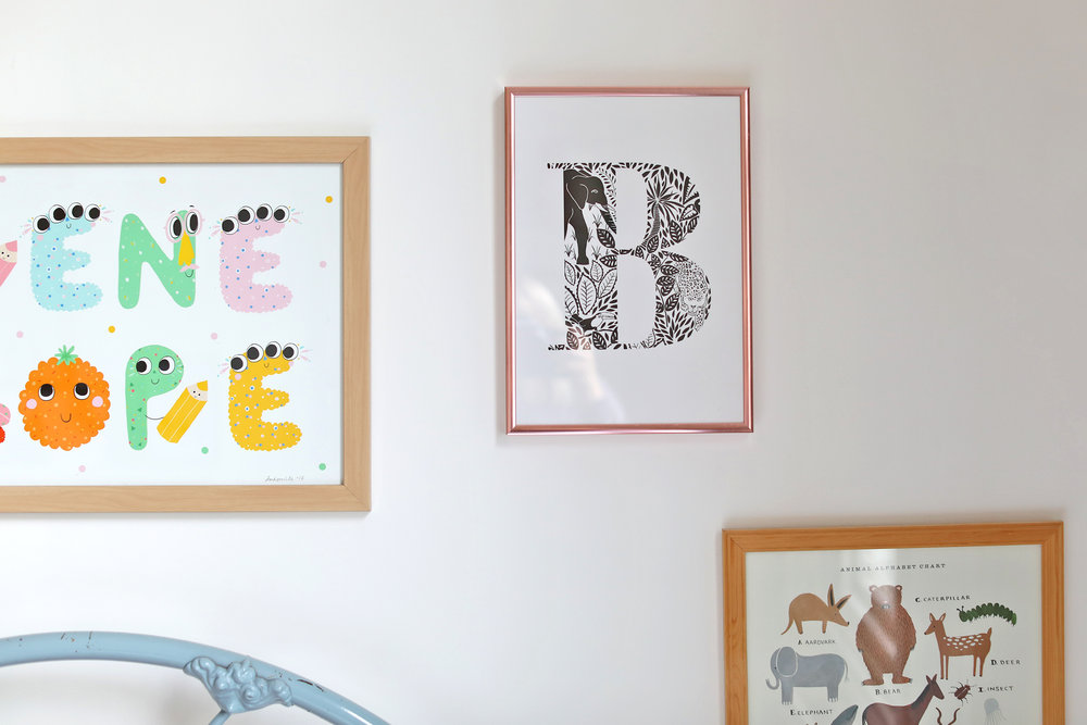 "The letter print is from the lovely  Lucy Says I Do . The 'B"" is for Beatrix. Animal alphabet print from  Rifle Paper Co ."
