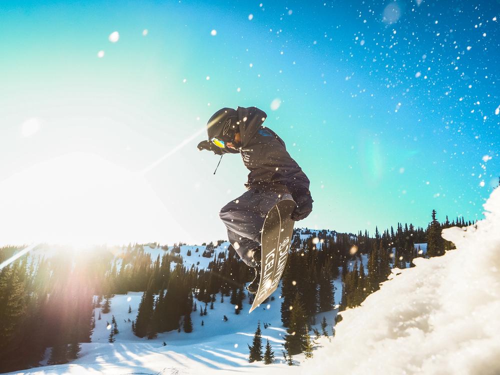 Matt nailing a grab on a backcountry jump in B.C., Canada.