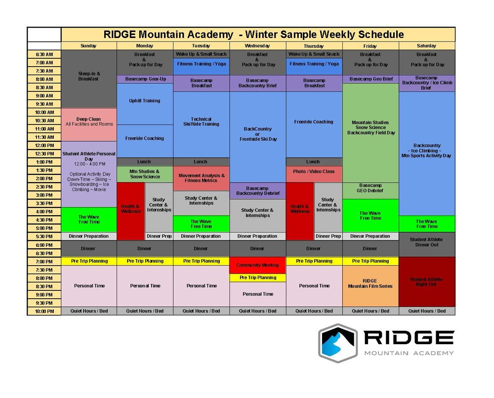 Below is a Sample Schedule of a week at RIDGE