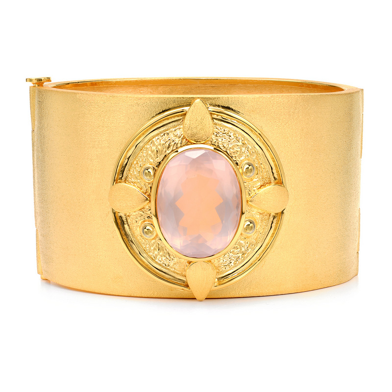 Hinged Rose Quartz Cuff