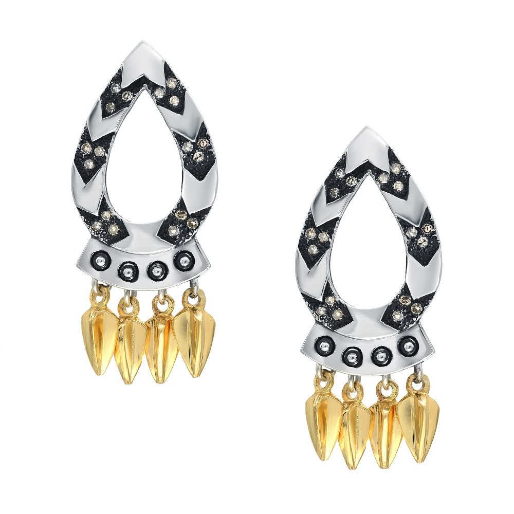 Strength Spear Earrings, 18k