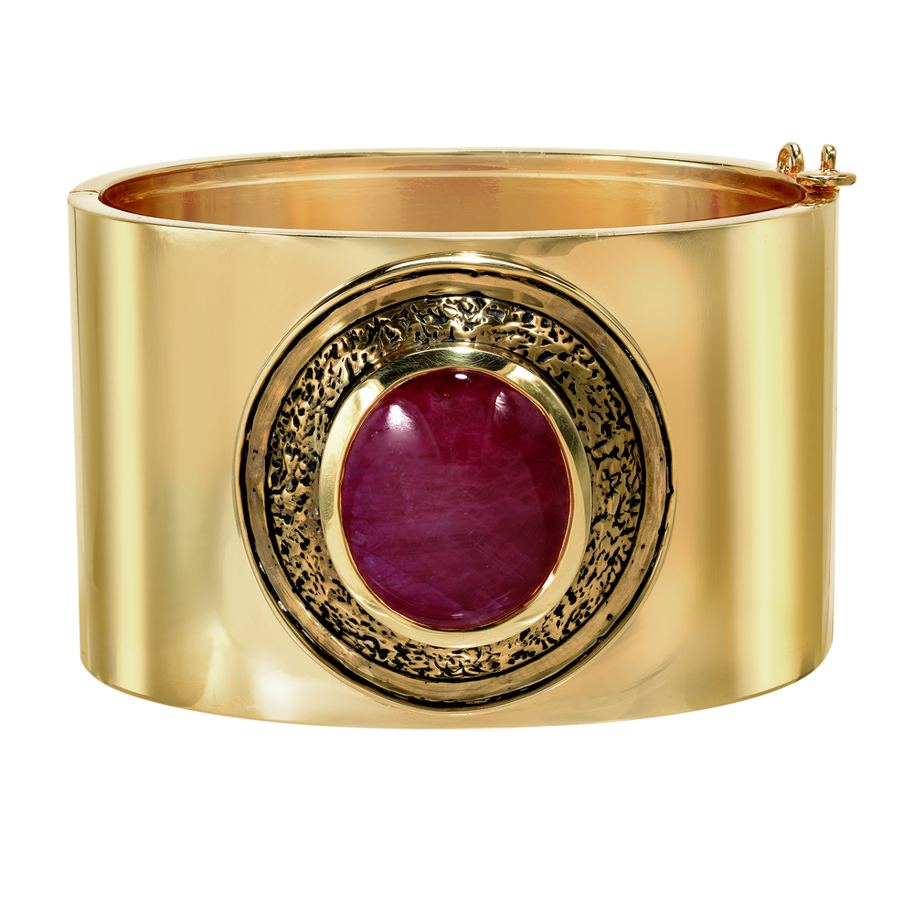 Hinged Ruby Shield Cuff