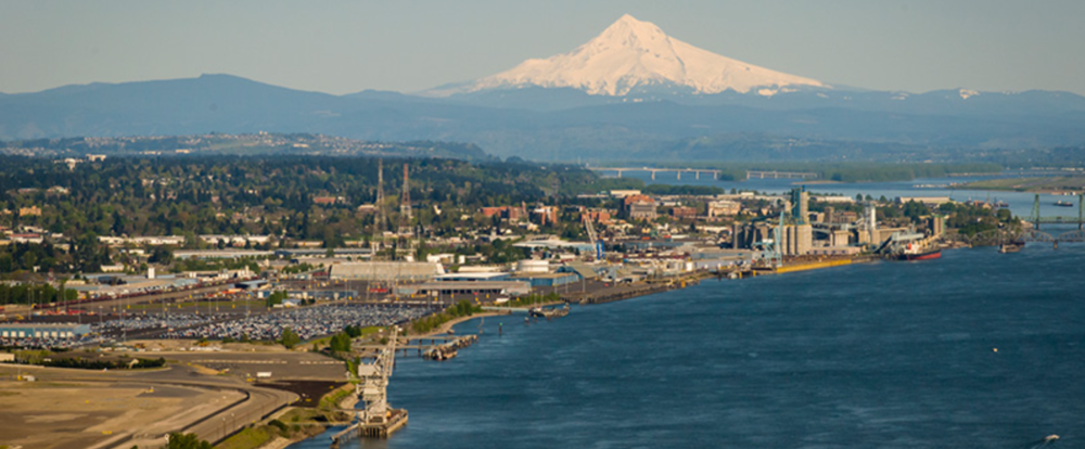 Aerial view of the Port of Vancouver, WA.