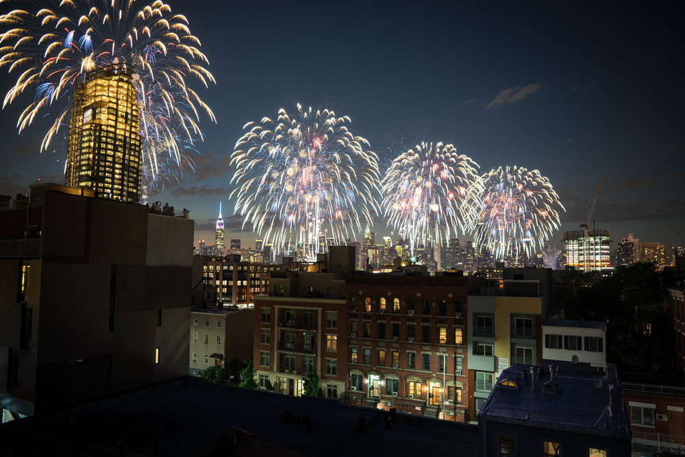 Long Exposure Fireworks Brooklyn NYC