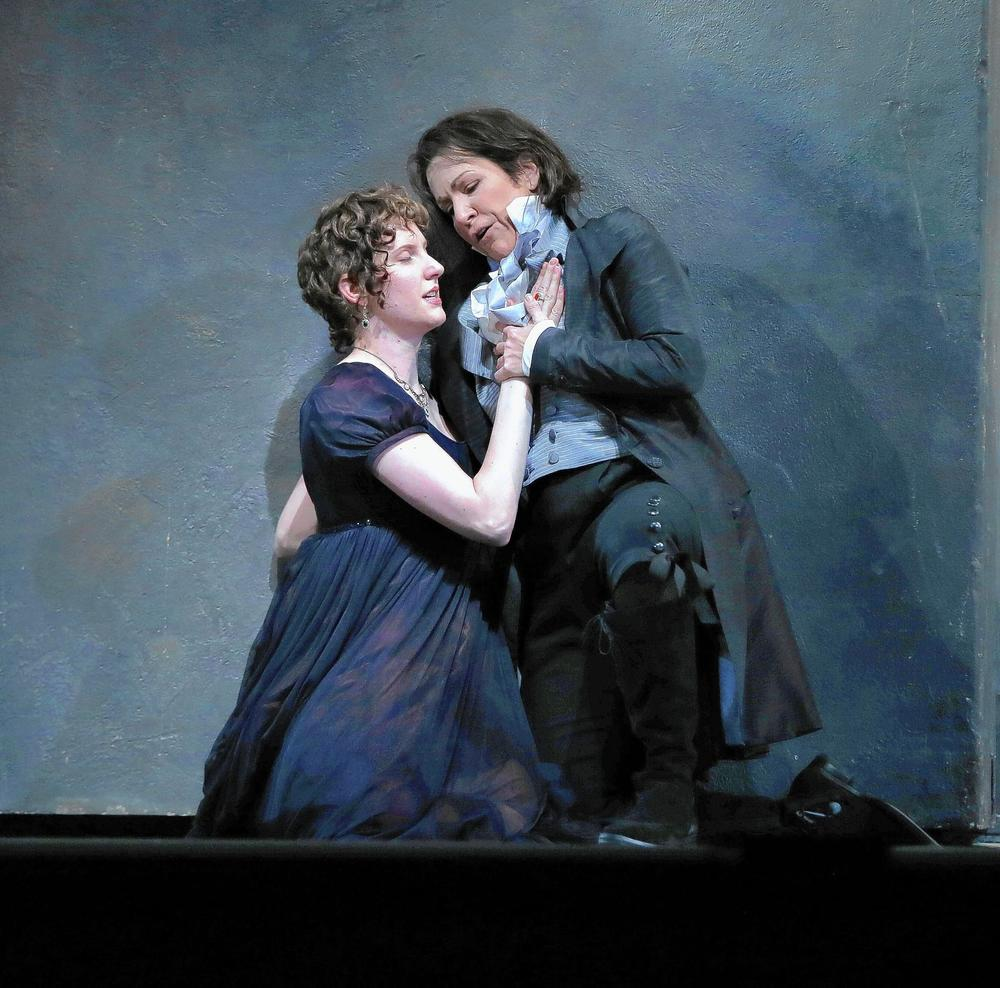 "Amanda Majeski (left) plays Vitellia and Joyce DiDonato plays Sesto in a dress rehearsal of Mozart's ""La Clemenza di Tito"" at the Civic Opera House. (Photo credit: Terrence Antonio James, Chicago Tribune)"