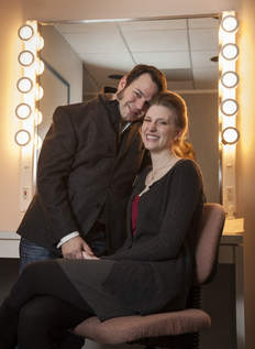 Singers Sam Handley and Amanda Majeski in a Lyric Opera dressing room. (Photo credit: Rich Hein, Sun-Times)