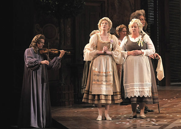 Majeski (center) performs as a peasant girl in the Lyric's current production of The Marriage of Figaro, before her star turn Tuesday as the understudy in the role of the Countess Almaviva.