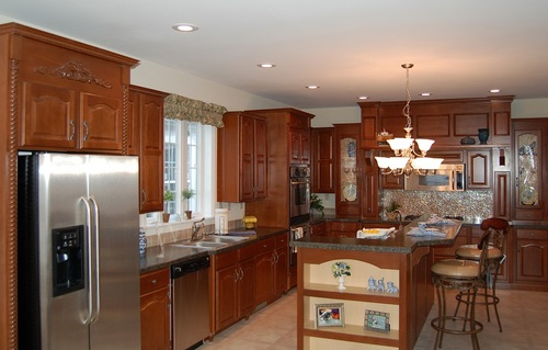 Kitchen Cabinets For 9 Foot Ceilings hearth wall - l shape — pleasant valley homes