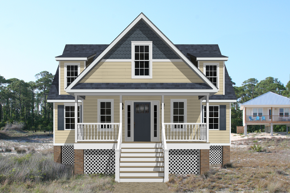 "With styling cues reminiscent of Atlantic coast cottages, the Cambridge Cottage is designed to maximize the utilization of a small building lot. It features 1,085 square feet of living space on the first floor, in addition to a 6'0"" x 20'0"" covered porch. The second floor can be finished from the factory, or can be finished on-site at any time, providing for exceptional flexibility as your family and/or budget grows. Add doghouse or shed dormers to complete the look."