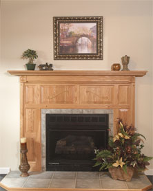Natural Oak Wood Fireplace Surround w/Oak Mantle, Flat Hearth