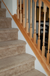 Carpet Stairs w/Oak Railing
