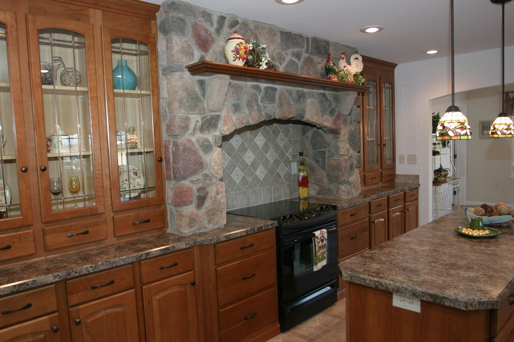 Hand-laid Bucks County Rubble stone around galley Hearth with solid cherry mantle