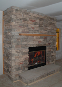 Bucks County Stack Stone Fireplace Surround w/Oak Mantle, Raised Hearth