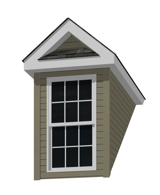 4' Doghouse Dormer for an 8-12 Pitch Roof with Pent Roof and 3046 window