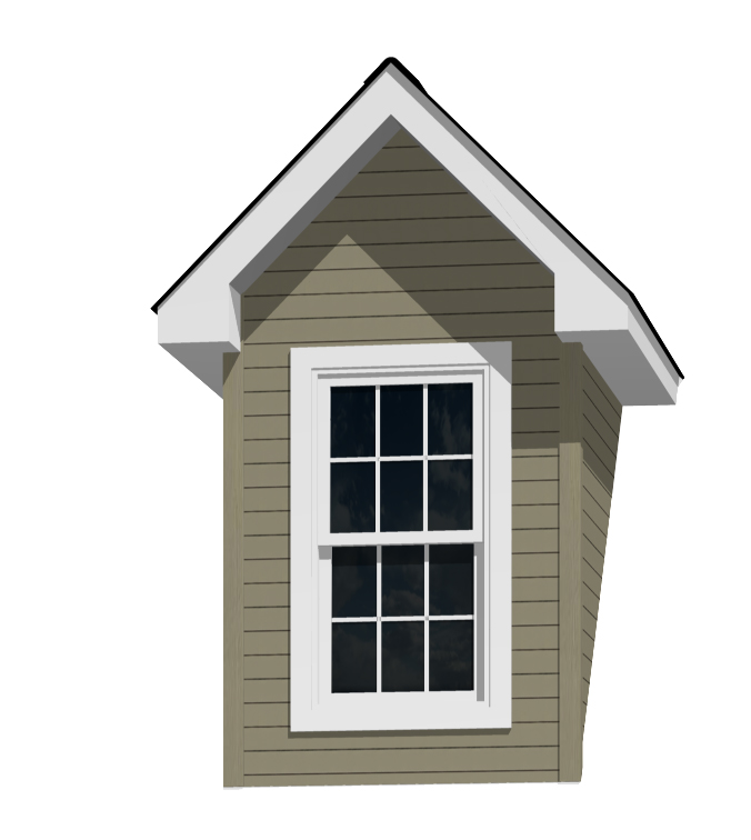 5' Doghouse Dormer for a 12-12 Pitch Roof with 2446 Window and Lineals