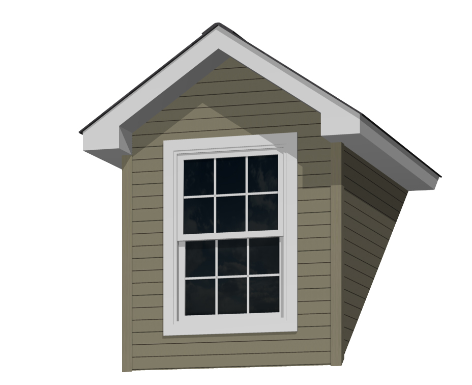 6' Doghouse Dormer for a 9-12 Pitch Roof with 3046 Window and Lineal