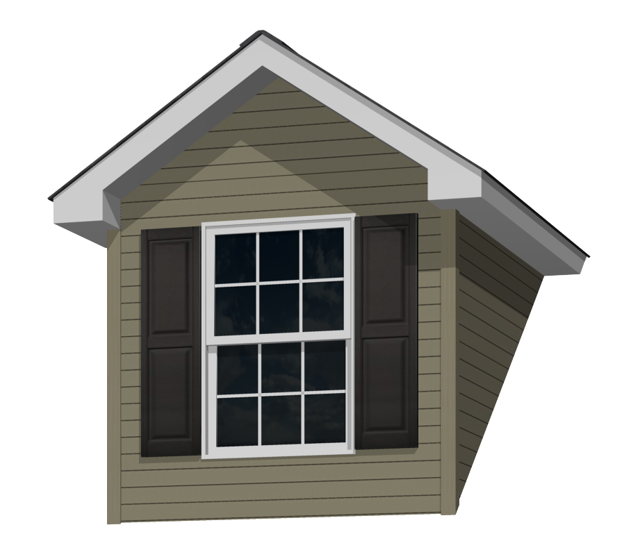 7' Doghouse Dormer for a 9-12 Pitch Roof with a 3046 Window and Shutters