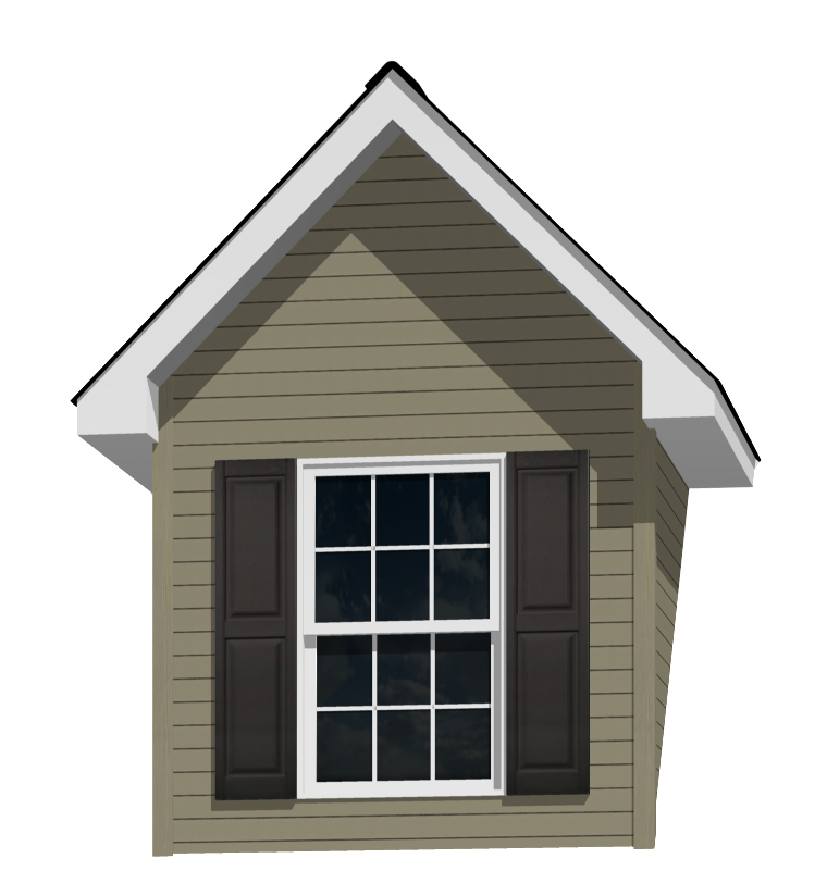 7' Doghouse Dormer for a 12-12 Pitch Roof with a 3046 Window and Shutters