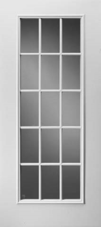 15-Lite Door Glass: Clear