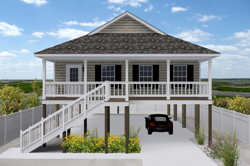 A charming rancher, the Barnegat offers three bedrooms, two bathrooms, and ample living space.  Ideal for a small building lot, the Barnegat features open living areas that access outdoor living spaces on both the front and rear of the home.