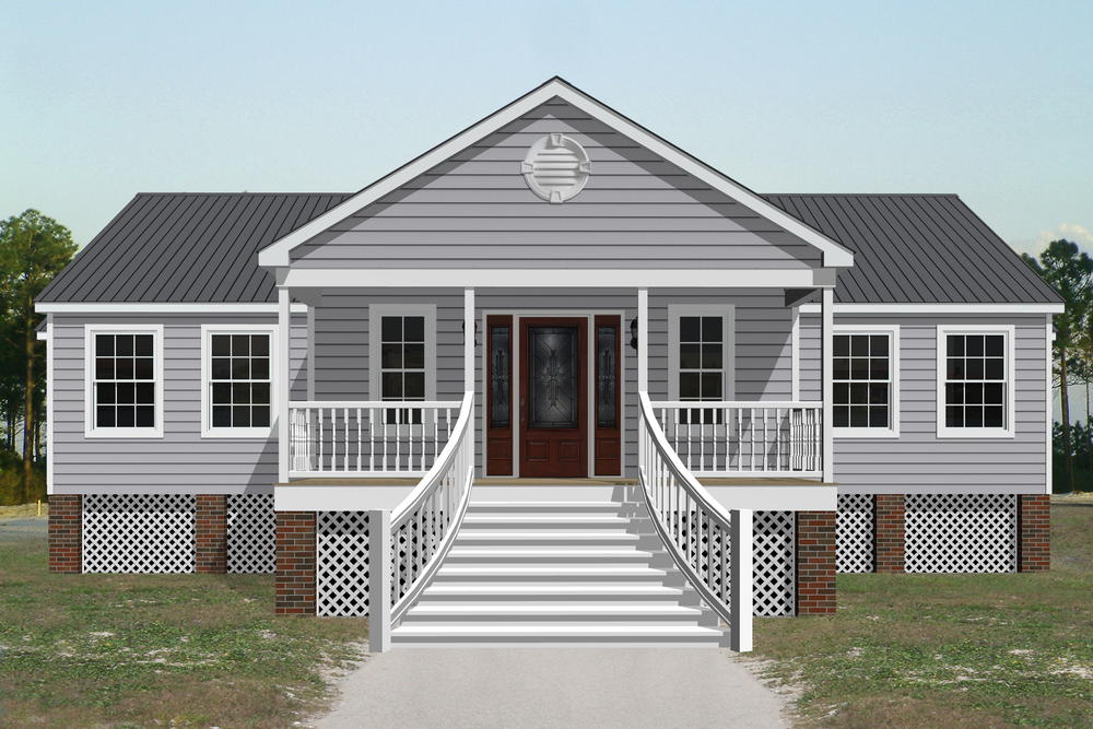 The majestic entrance to this 1,629 square foot one-floor home invites you into a spacious foyer that opens into the living room. With a master suite flanked to one side of the living room and secondary bedrooms to the other, the Virginia Beach is a great plan for a growing family.