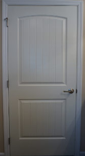 "Opt. Two-Panel Arch-top ""Santa Fe"" White Door"