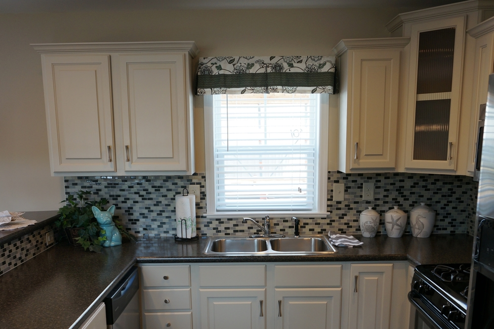 Optional tile backsplash shown