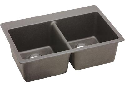 Elkay E-granite 33/22 double bowl w/ matching drain - Greige
