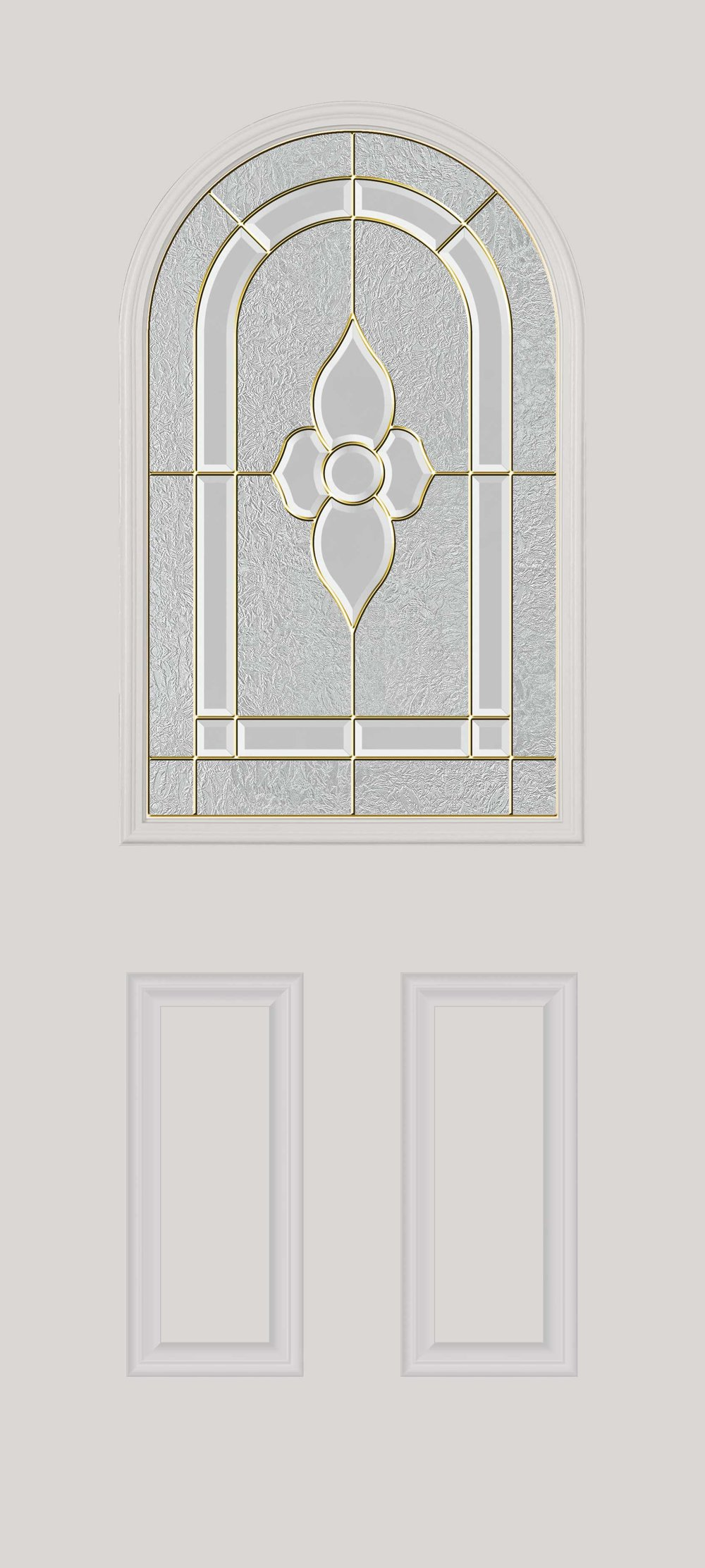 Half-glass door with round top Glass: decorative with nickel caming
